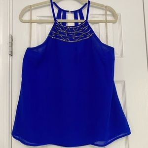 Beaded halter neck tank top